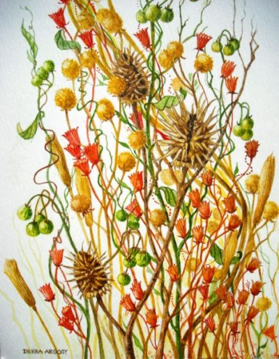 Bisbee Wildflowers, orig. watercolor © Debra Argosy. Prints available.