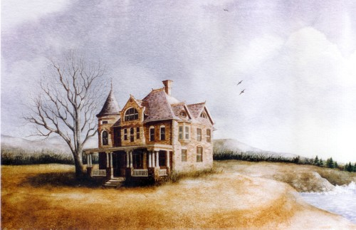 The House that Was  12 x 23 watercolor on paper © Debra Argosy