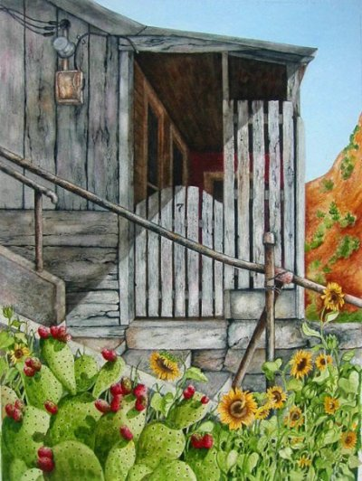 Miner's shack, Bisbee. Original watercolor © Debra Argosy
