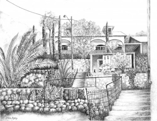 OK Street, Bisbee AZ, orig. graphite drawing © Debra Argosy. Prints available.