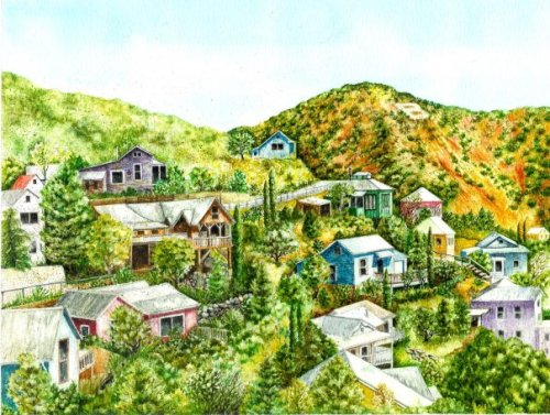 View from Clawson Road, Bisbee, orig. watercolor © Debra Argosy. Prints available.