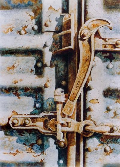 Boxcar Lock  16 x 20 watercolor on paper © Debra Argosy