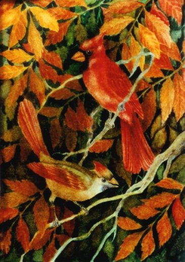 Cardinals in the Sumac   4 1/2 x 6 1/2  watercolor on paper   © Debra Argosy