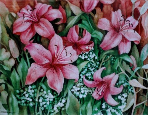 Lily Garden  10 x 12 watercolor on paper © Debra Argosy
