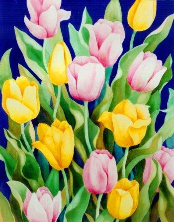 Tulips  4 1/2 x 6 1/2 watercolor on paper © Debra Argosy